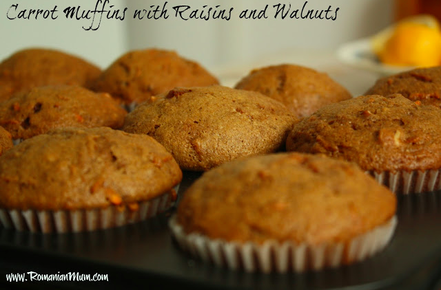 Carrot muffins with raisins and walnuts