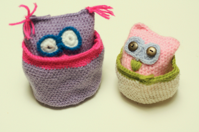 Little crochet owls and baskets
