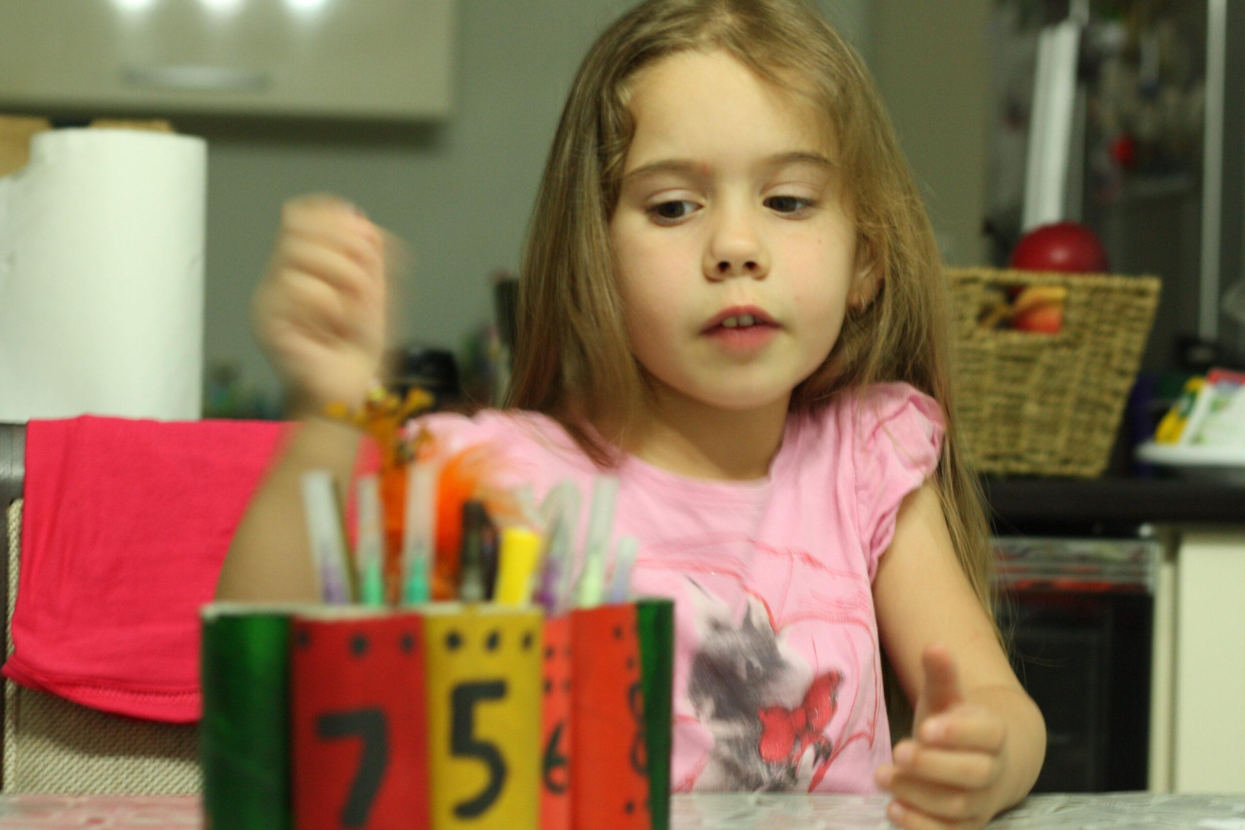 create recycled pen holders #prechool and learn to count