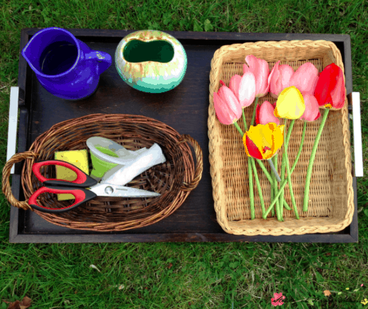 Montessori Practical Life Lesson: Flower Arranging
