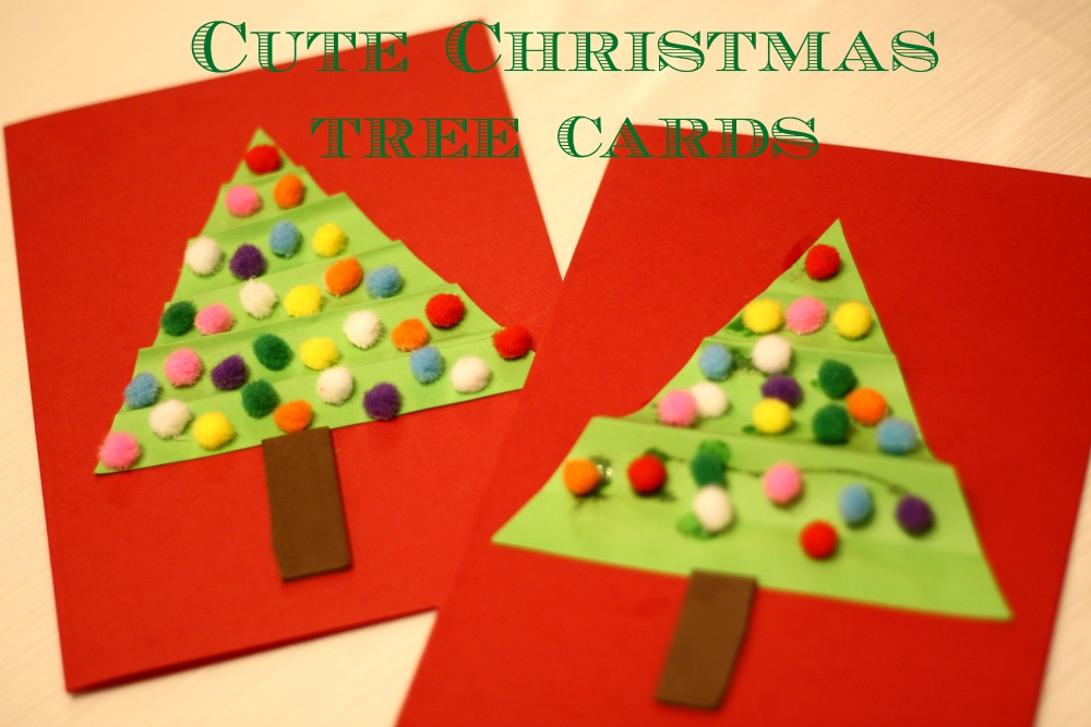 Cute Pom Pom Christmas Tree Cards