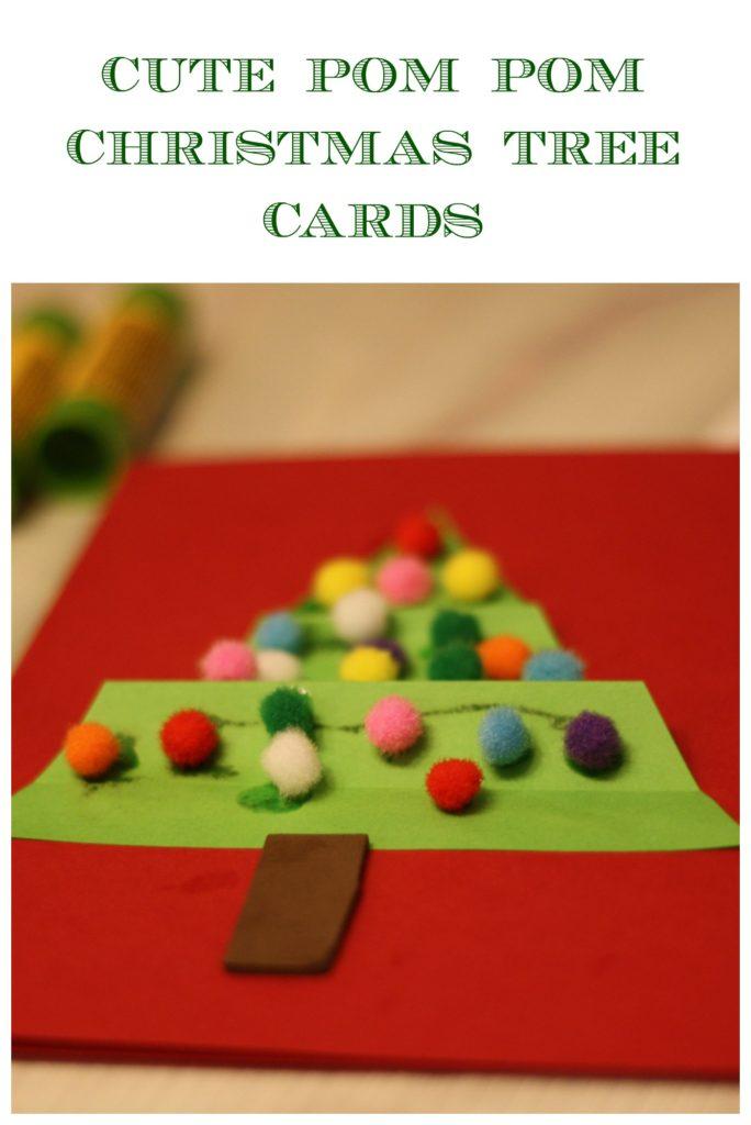 Cute Pom Pom Christmas Tree Cards